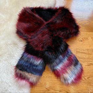 Loft Outlet Faux Fur Multicolored Wrap Scarf